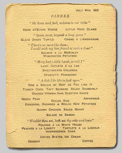 Titanic White Star Line Lunch Menu From